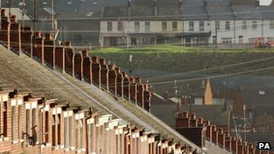 A row of houses in the Ardoyne area of Belfast