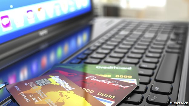 credit cards on laptop
