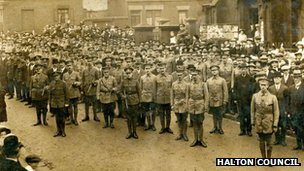 World War I soldiers on parade in Runcorn