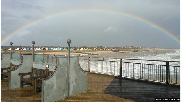 Southwold Pier under a rainbow