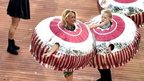 Two girlsdressed as Tunnock's teacakes
