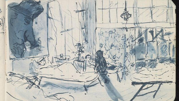 Sketch of a hospital ward from Siegfried Sassoon's journal