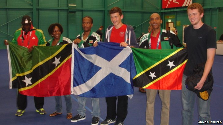 Kit Shepherd with the St Kitts and Nevis table tennis team
