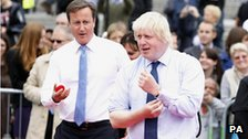Boris Johnson and David Cameron playing tennis