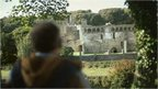 Tourist visits a Welsh castle