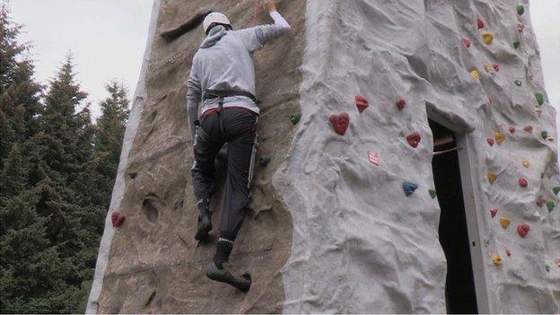 Rock climbing at Auchengillan