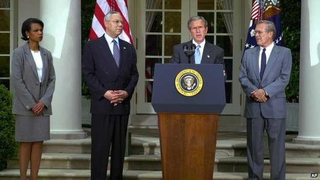 National Security Adviser Condoleezza Rice, left, Secretary of State Colin Powell, second left, and Defense Secretary Donald H. Rumsfeld, right, look on as President Bush announces a blueprint for a Palestinian state Monday, June 24, 2002,
