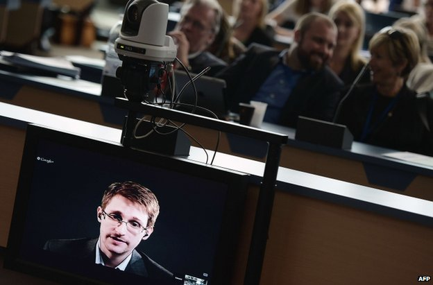 Edward Snowden speaking by video link to the Council of Europe in Strasbourg, 24 June