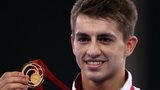 England gymnast Max Whitlock with a gold medal won at the Commonwealth Games