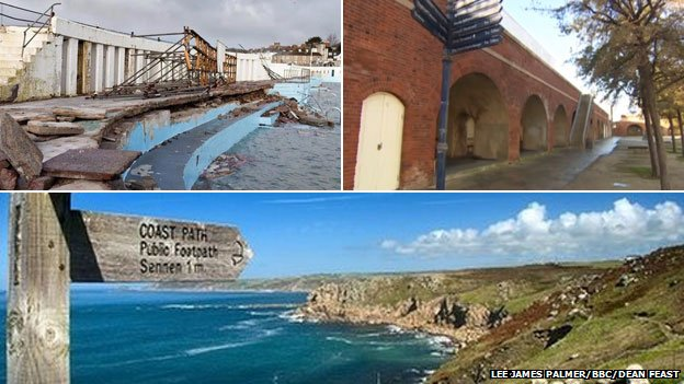 Jubilee Pool Lido, historic arches in Portsmouth and the coast in Lands End