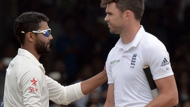 India's Ravindra Jadeja and England's James Anderson