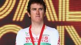Geraint Thomas on the rostrum after being presented with his Commonwealth Games bronze medal