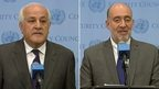 Palestinian representative to the UN Riyad Mansour and Israeli ambassador to the UN Ron Prosor