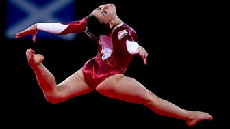 Claudia Fragapane competing in the Glasgow 2014 Commonwealth Games