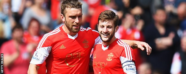 Rickie Lambert and Adam Lallana during the Premiership between Southampton and Manchester United