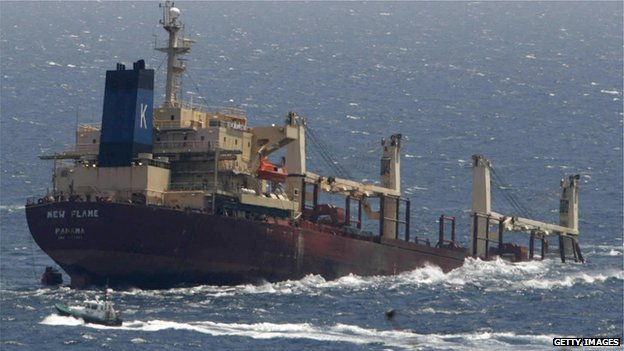 Panamanian registered ship sunk