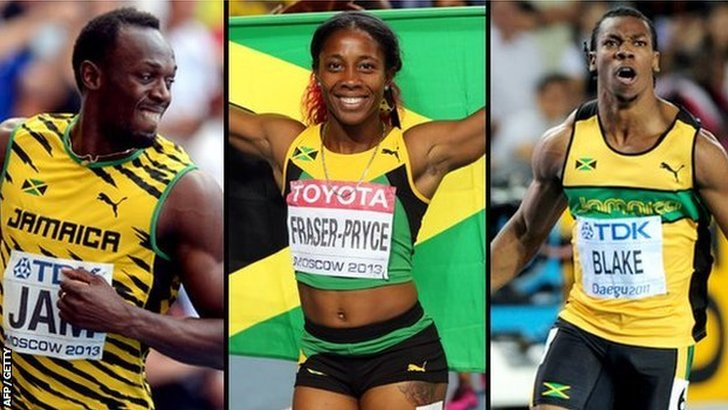 Usain Bolt, Shelly-Ann Fraser-Pryce and Yohan Blake
