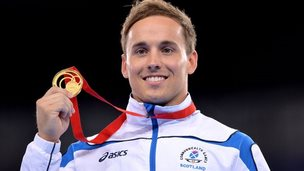 Daniel Keatings with his gold medal