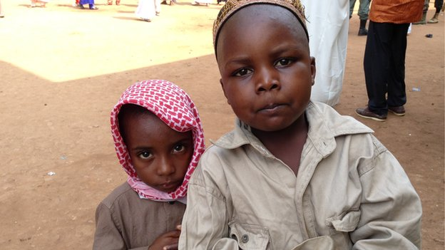 Two Muslim children in Bangui, CAR, during Eid celebrations - July 2014