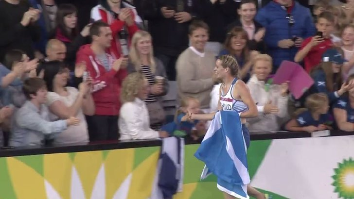 Amy Child celebrates her silver medal