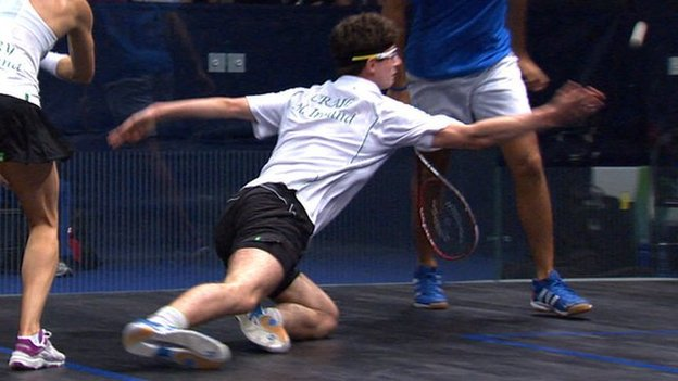 Northern Irish squash player Michael Craig at the 2014 Commonwealth Games in Glasgow