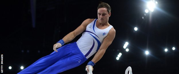 Daniel Keatings of Scotland in action in the pommel horse final