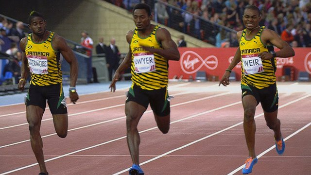 Jamaicans Jason Livermore, winner Rasheed Dwyer and Warren Weir in the men's 200m