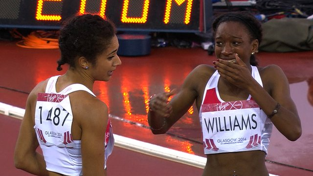 English 200m runners Jodie Williams (left) and Bianca Williams at the 2014 Commonwealth Games in Glasgow