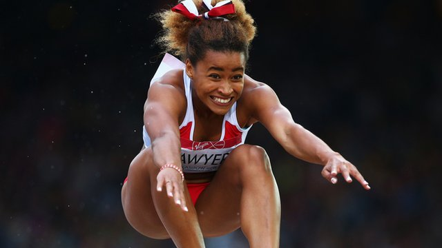 England's Jazmin Sawyers jumps to silver medal in the long jump