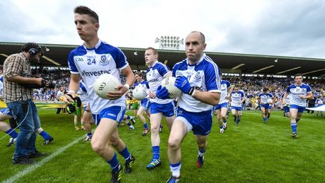 Monaghan run onto the field for the Ulster SFC final
