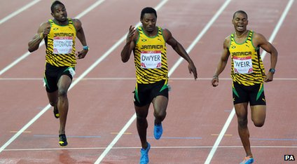 "Jamaica""s Rasheed Dwyer (centre) wins ahead of second placed Warren Weir (right) and third placed Jason Livermore (left) in the Men""s 200m Final at Hampden Park, during the 2014 Commonwealth Games in Glasgow."