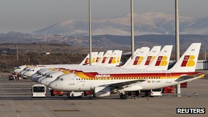 Iberia aeroplanes are parked at Madrid's Barajas T4 airport terminal