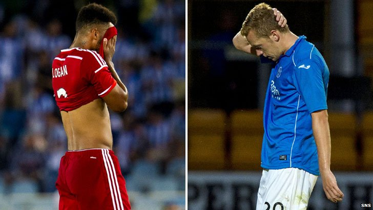 Aberdeen defender Shay Logan and St Johnstone defender Frazer Wright