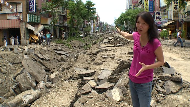 Cindy Sui reports from street hit by gas explosion in Taiwan