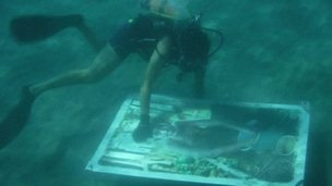A diver working on one of the pictures