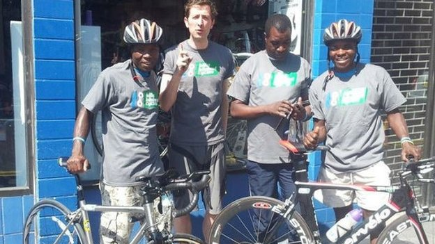 Malawi cyclists with Bilsland Cycles owner Neil Bilsland