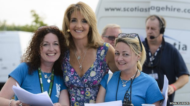 Radio Scotland's Kaye Adams with BBC at the Quay APs Donna McCabe and Mary Begley