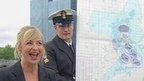 Carol Kirkwood and members of the Royal Navy
