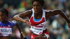 Tiffany Porter of England competes in the 100m hurdles at Glagow 2014 Commonwealth Games