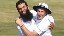 Moeen Ali celebrates with Joe Root
