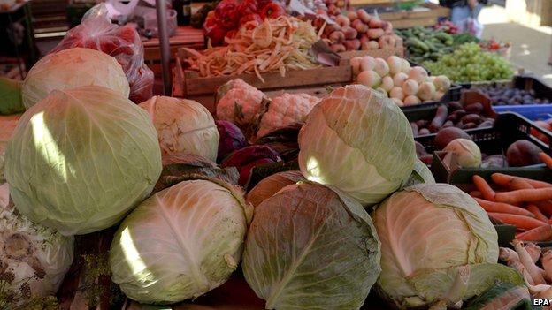 Vegetables at market in Poland, 31 Jul 14