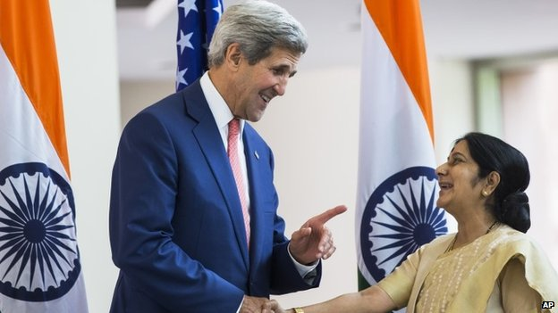U.S. Secretary of State, John Kerry with Indian Foreign Minister Sushma Swaraj in New Delhi, India, July 31, 2014.