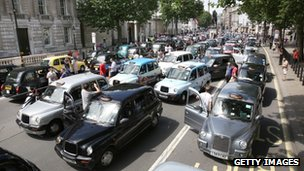 Taxis blockade Whitehall