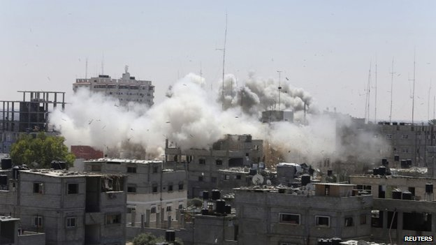 Smoke rises following what witnesses said were Israeli air strikes in Rafah in the southern Gaza Strip August 1, 2014