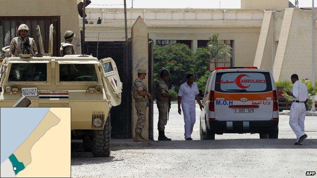 An ambulance passed through the Rafah border crossing