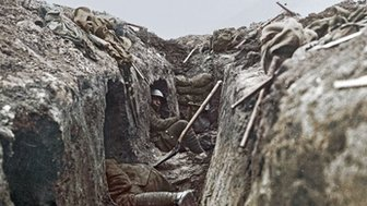 Canadian troops resting in trench shelters during the Battle of Arleux on the Western Front in France, 1917.