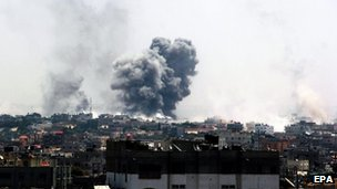 Smoke rises after Israeli air strikes in Rafah, southern Gaza Strip, 1 August