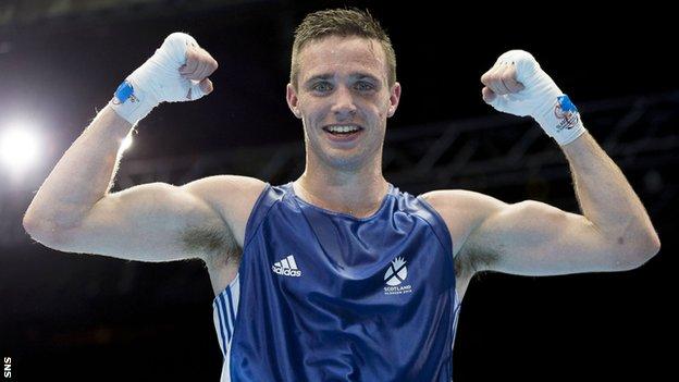 Team Scotland's Josh Taylor beats Samuel Maxwell in the Men's light welter 64kg semi-final