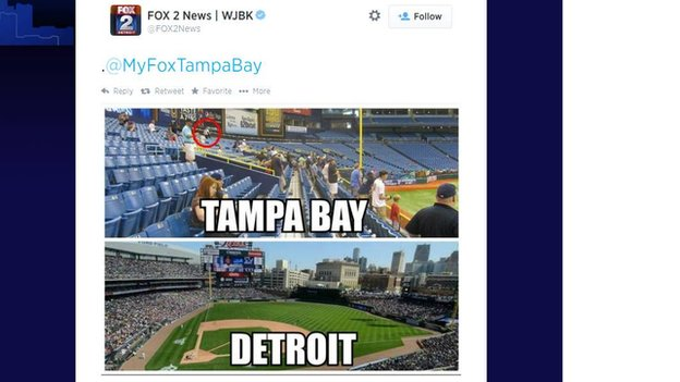A tweet from Fox 2 News Detroit comparing Tampa Bay and Detroit.