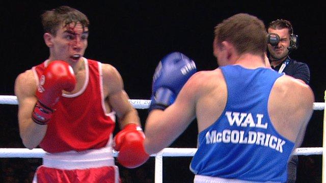 Northern Irish boxer Michael Conlan fights Wales' Sean McGoldrick